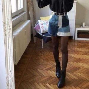*Zara* Patchwork Denim Skirt